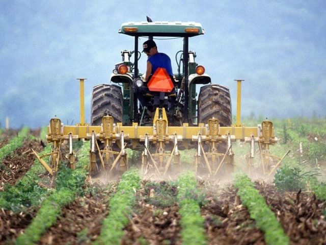 Man Driving Farm Tractor Plowing a Field